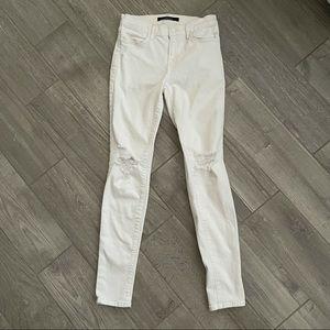 J Brand White Distressed Super Skinny Jeans